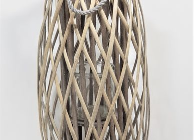 Decorative accessories - WOOD AND GLASS WICKER LANTERN - FYDEC COLLECTION