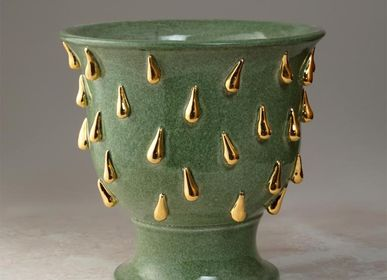 Ceramic - Golden Drops Foot Cache Pot - CERAMICA ND DOLFI