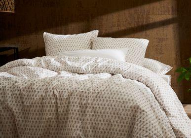 Linge de lit - Percale de coton bio lavée - Linge de lit Naturel Palmette - DORAN SOU