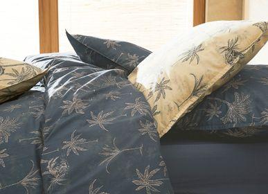 Bed linens - Percale de coton bio lavée - Amour Lointain Indigo Bed Linen - DORAN SOU