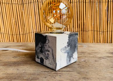 Table lamps - Concrete Lamp | Cube | Marble anthracite - JUNNY