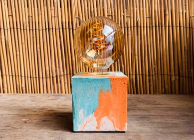 Lampes à poser - Lampe Béton | Cube | Marbré orange et turquoise - JUNNY