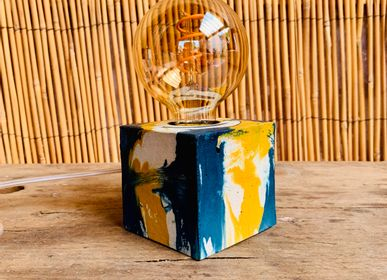Table lamps - Concrete Lamp | Cube | Yellow and Petrol Blue Marble - JUNNY