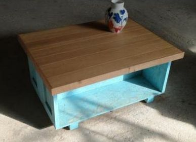 Coffee tables -  Coffee table Fisherman B oak top on blue base - LIVING MEDITERANEO
