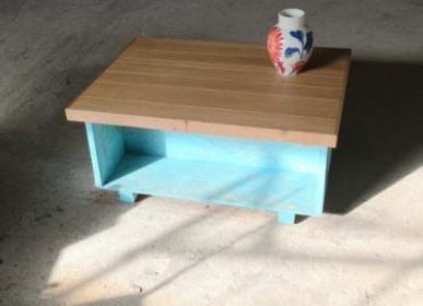 Furniture and storage -  Coffee table Fisherman B oak top on blue base - LIVING MEDITERANEO