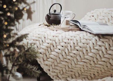 Pièces uniques - Chevron couvre-lit en laine - PANAPUFA