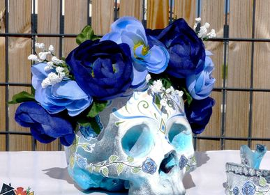 Decorative objects - Home'Skull, Tête de mort, Skull XL Calaveras Dia de los muertos Blue Pink - HOME SKULL