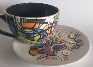 Céramique - ENIGMA tasses et soucoupes /BELLA -Heure du thé - ENIGMA
