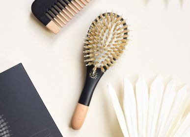 Hair accessories - Men Kit Brush Boar and Nylon small size + wooden comb - BACHCA