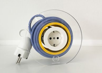 Design objects - Extension Cord for 2 Plugs - Navy & White & Yellow - OH INTERIOR DESIGN