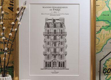 Affiches - Affiche Immeuble parisien place Voltaire Architecture - L'ATELIER LETTERPRESS