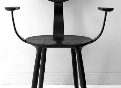 Chairs - Daiku armchair in stained ash wood by Victoria Magniant - VICTORIA MAGNIANT POUR GALERIE V