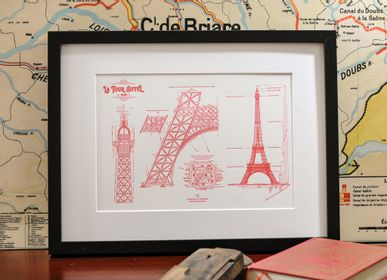 Poster - Art print Original Blueprint of the Eiffel Tower Architecture - L'ATELIER LETTERPRESS