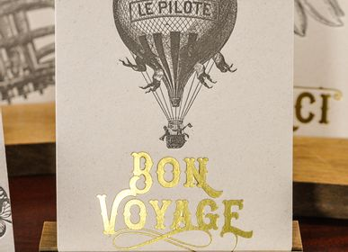 Stationery / Card shop / Writing - Card Hot Air Balloon Bon Voyage - L'ATELIER LETTERPRESS