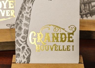 Stationery / Card shop / Writing - Card Giraffe Big News - L'ATELIER LETTERPRESS