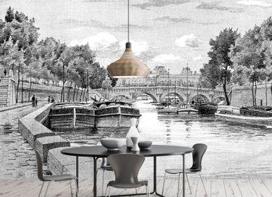 Wallpaper - Papier Peint Panoramique Gravure - La Seine - CIMENT FACTORY