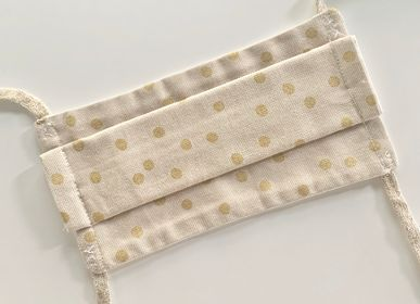 Scarves - Adult Afnor Standard Fabric Mask Gold Polka Dot Model - LES LOVERS DECO