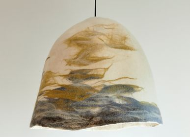 Decorative objects - CIELO lampshade, BURBUJAS lampshade, PUNA lampashade, GRIETA lampshade. Designed and handcrafted in France - ATELIER SOL DE MAYO . MONA PIGLIACAMPO