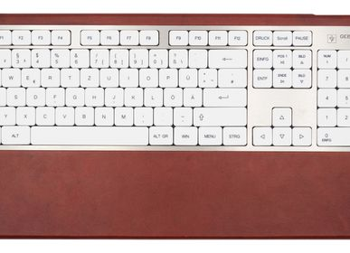 Office set - Computer keyboard - Red leather - GEBR. HENTSCHEL GBR