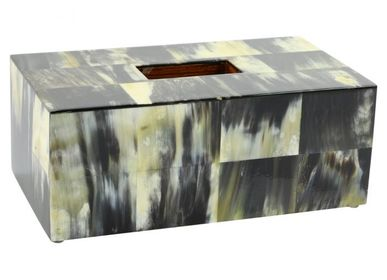 Caskets and boxes - tissue cover box black horn - MOON PALACE