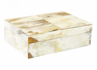 Caskets and boxes - box from clear horn&teak inside 25x18x9cm - MOON PALACE