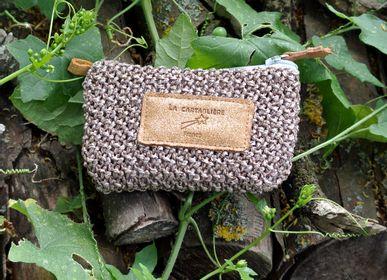 Clutches - Mini pencil case - interlaced and leather - LA CARTABLIÈRE
