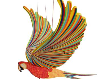 Decorative items - Macaw Macaw - handcrafted fair trade wood mobile - TULIA'S ARTISAN GALLERY