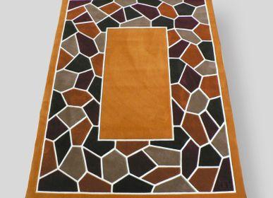 Rugs - Mosaic rug yellow ochre tufted hand - JORY PRADELLE
