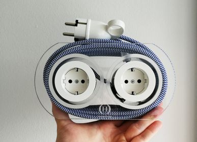 Design objects - Extension Cord for 4 Plugs - Navy & White - OH INTERIOR DESIGN