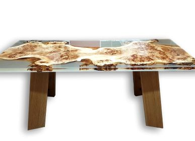 Kitchen Furniture - Poplar Wood Epoxy Table Mappa Burl - JUNIKOR