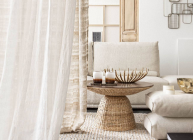 Curtains / window coverings - Tailored curtains in linen veil wide width Sahara Stripes - BERENGERE LEROY