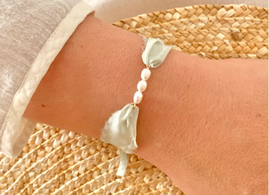 Jewelry - Silk Florette and cultured pearls bracelet - JOUR DE MISTRAL