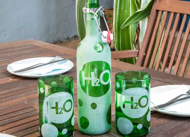 Glass - Water Bottle & Glass Set – H2O Recycled Glass - IWAS