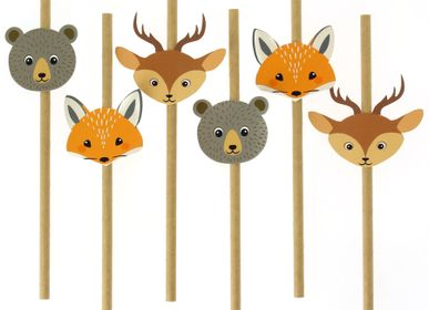 Birthdays - 6 Paper Straws Forest Animals - Recyclable - ANNIKIDS