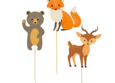 Birthdays - Cake Toppers Forest Animals - Recyclable - ANNIKIDS