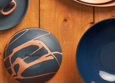Platter and bowls - ROUND Double Color Bowls - ESMA DEREBOY HANDMADE PORCELAIN