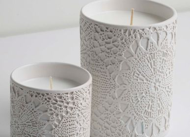 Candles - SAF Lace Patterned Candle Holder - ESMA DEREBOY HANDMADE CERAMIC