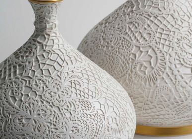 Vases - SNOHA Lace Patterned Ceramic Vase - ESMA DEREBOY HANDMADE CERAMIC