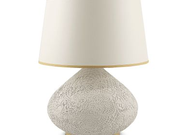 Ceramic - Lace Patterned Ceramic Table Lamp - ESMA DEREBOY HANDMADE CERAMIC