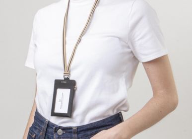 Travel accessories - Pass Black - Leather badge holder with removable neckband - MLS-MARIELAURENCESTEVIGNY