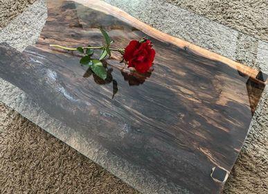 Objets de décoration - Table basse en bois massif avec verre, pomme - MASIV_WOOD