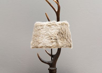 Table lamps - Deer antlers resin lamp with fur shade - CHEHOMA
