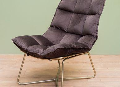 Armchairs - Grey armchair champagne legs Close - CHEHOMA