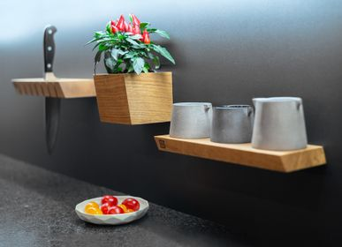 Kitchen utensils - Shelf • W • oblique - magnetic kitchen shelf - magnetic wooden shelf - 3S DESIGN