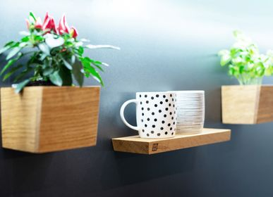 Kitchen utensils - Shelf • W • oblique - magnetic kitchen shelf - magnetic wooden shelf - 3S DESIGN
