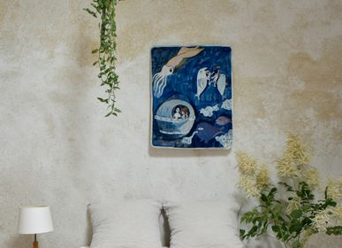 "Wall decoration - Aubusson Tapestry ""Deep Sea Diver"" handwoven in wool - ATELIER CC BRINDELAINE"