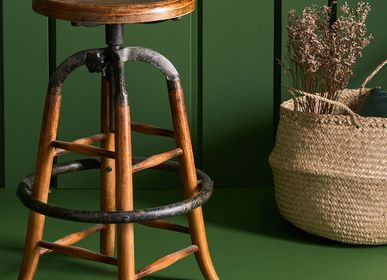 Stools - Oak and metal barstool - SIGNATURE