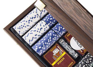 Gift - POKER SET in Dark Walnut Wooden case with Californian Burl veneer on top - MANOPOULOS CHESS & BACKGAMMON