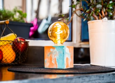Design objects - Concrete Lamp | Cube | Orange and turquoise marble - JUNNY