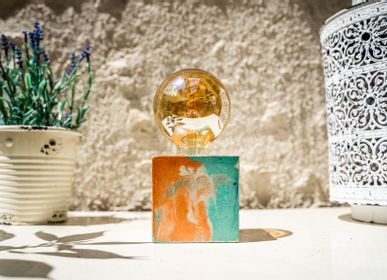 Table lamps - Concrete Lamp | Cube | Orange and turquoise marble - JUNNY
